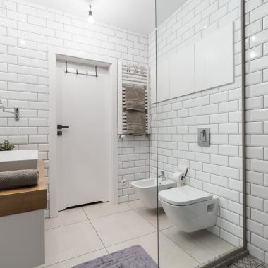 Picture of white tiles in modern bathroom